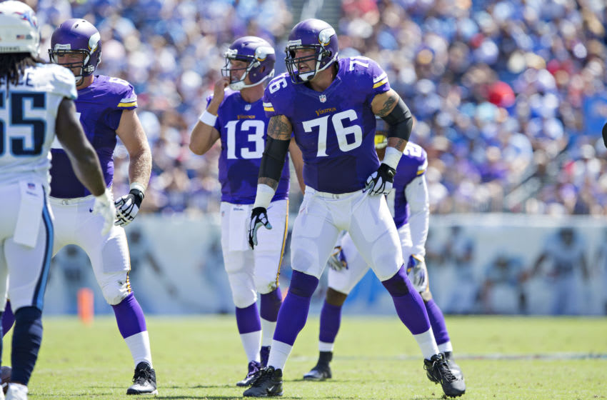 NASHVILLE, TN - SEPTEMBER 11: Alex Boone #76 of the Minnesota Vikings at the line of scrimmage during a game against the Tennessee Titans at Nissan Stadium on September 11, 2016 in Nashville, Tennessee. The Vikings defeated the Titans 25-16. (Photo by Wesley Hitt/Getty Images)