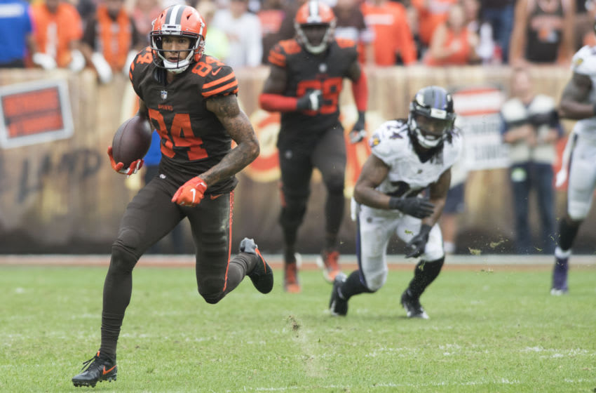 Oct 7, 2018; Cleveland, OH, USA; Cleveland Browns wide receiver Derrick Willies (84) runs with the ball after a catch during overtime against the Baltimore Ravens at FirstEnergy Stadium. Mandatory Credit: Ken Blaze-USA TODAY Sports