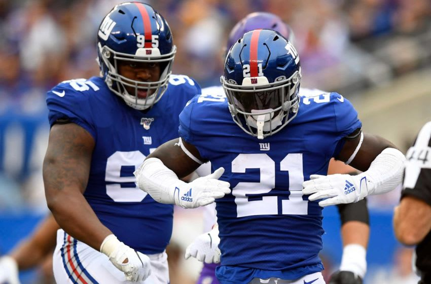 New York Giants safety Jabrill Peppers (21) celebrates stopping the Minnesota Vikings offense in the redzone. The New York Giants face the Minnesota Vikings in NFL Week 5 on Sunday, Oct. 6, 2019, in East Rutherford. Nyg Vs Min Week 5