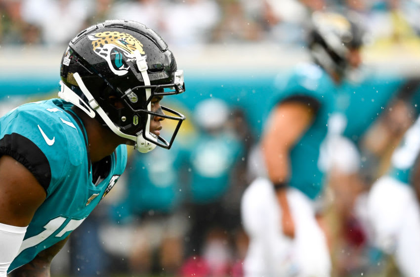 Oct 27, 2019; Jacksonville, FL, USA; Jacksonville Jaguars wide receiver D.J. Chark (17) awaits the snap during the first quarter against the New York Jets at TIAA Bank Field. Mandatory Credit: Douglas DeFelice-USA TODAY Sports