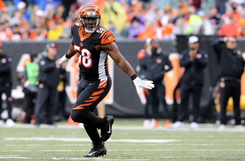 Cincinnati Bengals defensive end Carl Lawson (58) celebrates a sack in the fourth quarter during an NFL Week 17 game against the Cleveland Browns, Sunday, Dec. 29, 2019, at Paul Brown Stadium in Cincinnati. Cincinnati Bengals won 33-23. Cleveland Browns At Cincinnati Bengals Football 12 29 2019