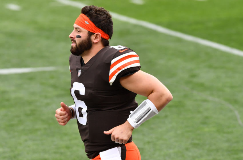 Oct 11, 2020; Cleveland, Ohio, USA; Cleveland Browns quarterback Baker Mayfield (6) is introduced before the game between the Cleveland Browns and the Indianapolis Colts at FirstEnergy Stadium. Mandatory Credit: Ken Blaze-USA TODAY Sports
