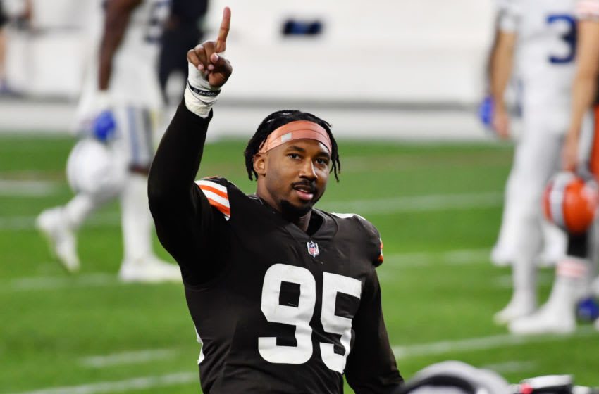 Oct 11, 2020; Cleveland, Ohio, USA; Cleveland Browns defensive end Myles Garrett (95) after the game against the Indianapolis Colts at FirstEnergy Stadium. Mandatory Credit: Ken Blaze-USA TODAY Sports