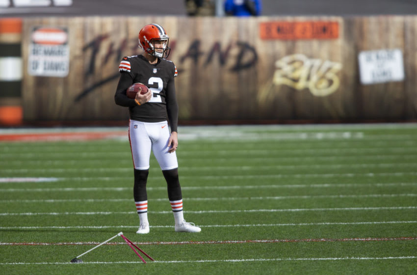 Nov 15, 2020; Cleveland, Ohio, USA; Cleveland Browns kicker Cody Parkey (2) looks across the field during warmups before the game against the Houston Texans at FirstEnergy Stadium. Mandatory Credit: Scott Galvin-USA TODAY Sports