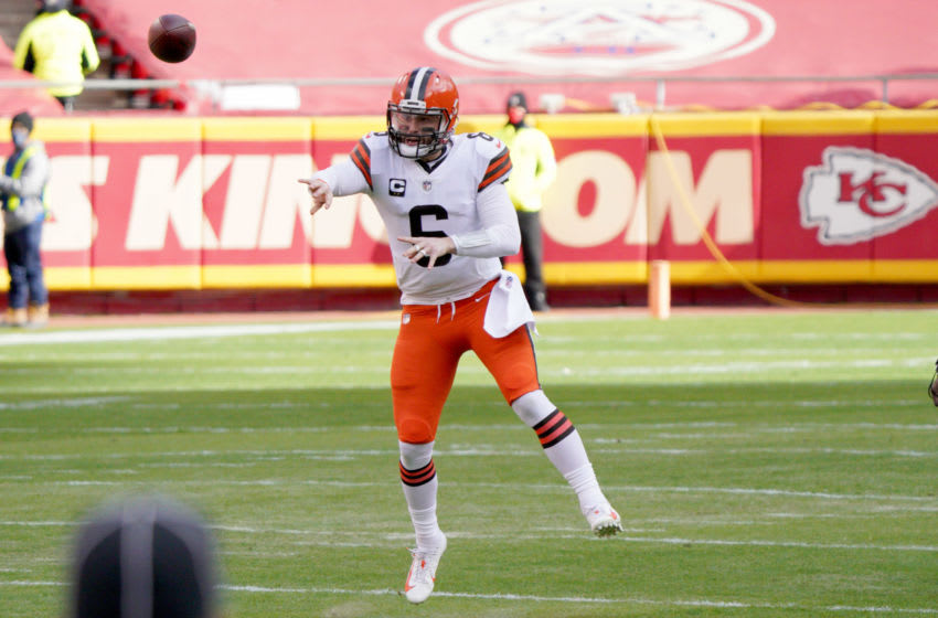 Jan 17, 2021; Kansas City, Missouri, USA; Cleveland Browns quarterback Baker Mayfield (6) throws a pass during the AFC Divisional Round playoff game against the Kansas City Chiefs at Arrowhead Stadium. Mandatory Credit: Denny Medley-USA TODAY Sports