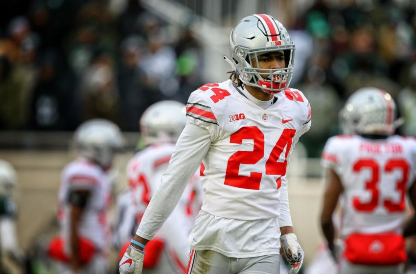 Nov 10, 2018; East Lansing, MI, USA; Ohio State Buckeyes cornerback Shaun Wade (24) reacts during the second half of a game against the Michigan State Spartans at Spartan Stadium. Mandatory Credit: Mike Carter-USA TODAY Sports