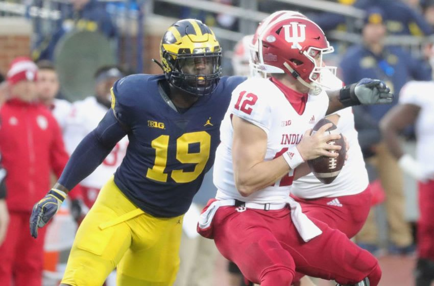 Michigan's Kwity Paye rushes against Indiana's Peyton Ramsey in the first half Saturday, Nov. 17, 2018 at Michigan Stadium in Ann Arbor. Kwity Paye