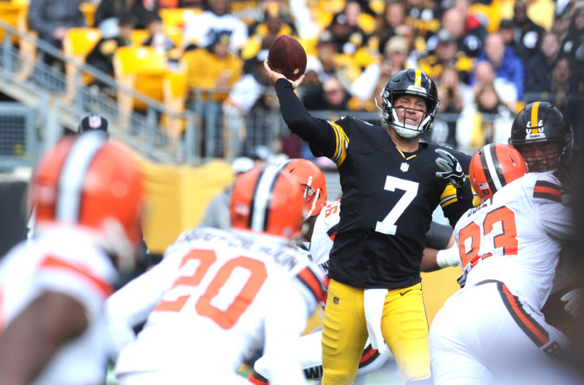 Oct 28, 2018; Pittsburgh, PA, USA; Pittsburgh Steelers quarterback Ben Roethlisberger (7) throws under pressure against the Cleveland Browns in the first quarter at Heinz Field. Mandatory Credit: Philip G. Pavely-USA TODAY Sports