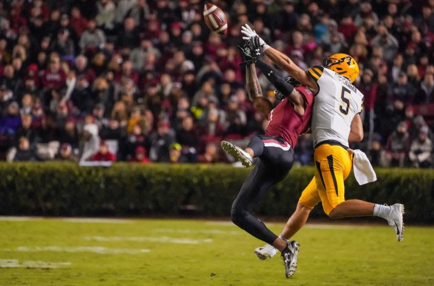 Nov 9, 2019; Columbia, SC, USA; South Carolina Gamecocks defensive back Jaycee Horn (1) breaks up a pass to Appalachian State Mountaineers wide receiver Thomas Hennigan (5) during the second quarter at Williams-Brice Stadium. Mandatory Credit: Jim Dedmon-USA TODAY Sports