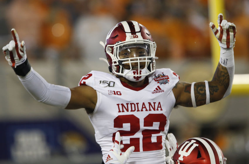 Jan 2, 2020; Jacksonville, Florida, USA; Indiana Hoosiers defensive back Jamar Johnson (22) celebrates after he returns an intercepted pass for a touchdown during the second half in the 2020 Taxslayer Gator Bowl at TIAA Bank Field. Mandatory Credit: Reinhold Matay-USA TODAY Sports