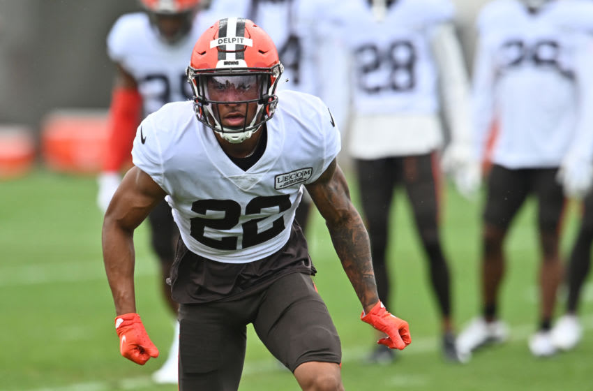 Aug 17, 2020; Berea, Ohio, USA; Cleveland Browns safety Grant Delpit (22) runs a drill during training camp at the Cleveland Browns training facility. Mandatory Credit: Ken Blaze-USA TODAY Sports