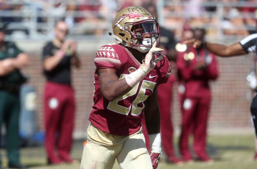 Florida State Seminoles defensive back Asante Samuel Jr. (26) after Clemson does not complete the pass as the Florida State Seminoles take on the Clemson Tigers in college football at Doak S. Campbell Stadium on Saturday, Oct. 27, 2018. Fsu Vs Clemson1011a