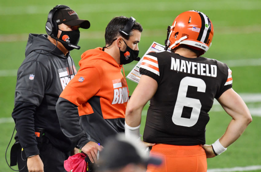 Sep 17, 2020; Cleveland, Ohio, USA; Cleveland Browns quarterback Baker Mayfield (6) talks with head coach Kevin Stefanski during the second half against the Cincinnati Bengals at FirstEnergy Stadium. Mandatory Credit: Ken Blaze-USA TODAY Sports
