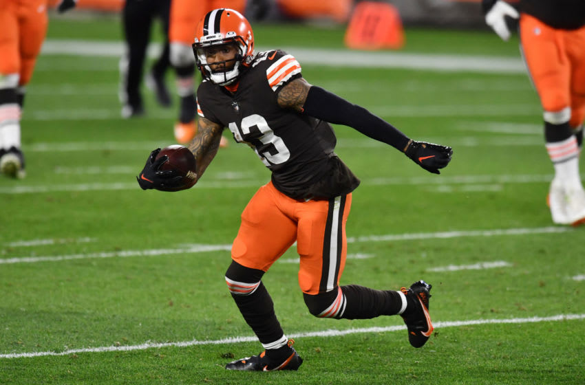 Sep 17, 2020; Cleveland, Ohio, USA; Cleveland Browns wide receiver Odell Beckham Jr. (13) runs with the ball during the first half against the Cincinnati Bengals at FirstEnergy Stadium. Mandatory Credit: Ken Blaze-USA TODAY Sports