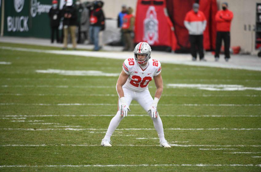 Dec 5, 2020; East Lansing, Michigan, USA; Ohio State Buckeyes linebacker Pete Werner (20) during the game against the Michigan State Spartans at Spartan Stadium. Mandatory Credit: Tim Fuller-USA TODAY Sports