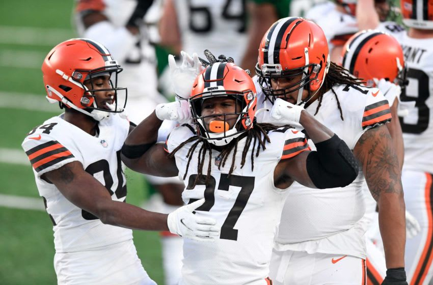 Cleveland Browns running back Kareem Hunt (27) celebrates his touchdown against the New York Jets in the second half. The Jets defeat the Browns, 23-16, at MetLife Stadium on Sunday, Dec. 27, 2020, in East Rutherford. Nyj Vs Cle
