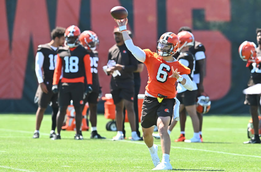 Jun 16, 2021; Berea, Ohio, USA; Cleveland Browns quarterback Baker Mayfield (6) throws a pass during minicamp at the Cleveland Browns training facility. Mandatory Credit: Ken Blaze-USA TODAY Sports