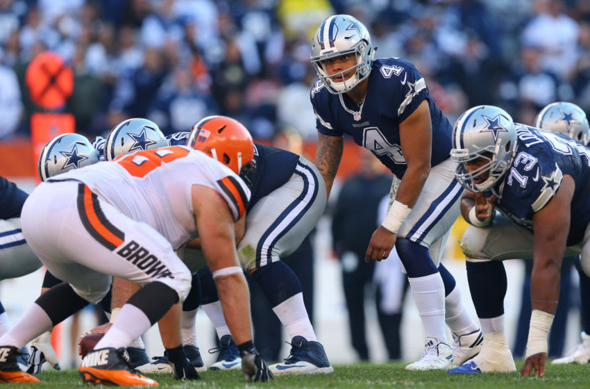 Nov 6, 2016; Cleveland, OH, USA; Dallas Cowboys quarterback Dak Prescott (4) against the Cleveland Browns at FirstEnergy Stadium. The Cowboys won 35-10. Mandatory Credit: Aaron Doster-USA TODAY Sports