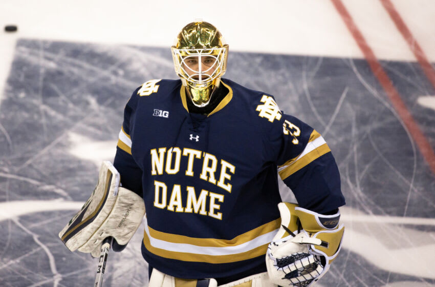 MANCHESTER, NH - MARCH 30: Nick Sanford #33 of the Notre Dame Fighting Irish warms up before a game against the Massachusetts Minutemen during the NCAA Division I Men's Ice Hockey Northeast Regional Championship final at the SNHU Arena on March 30, 2019 in Manchester, New Hampshire. The Minutemen won 4-0 to advance to the Frozen Four for the first time in school history. (Photo by Richard T Gagnon/Getty Images)