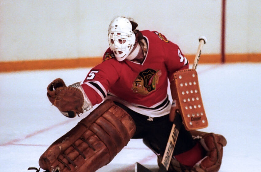 TORONTO, ON - APRIL 1: Tony Esposito #35 of the Chicago Blackhawks skates against the Toronto Maple Leafs during NHL game action on April 1, 1981 at Maple Leaf Gardens in Toronto, Ontario, Canada. (Photo by Graig Abel/Getty Images)