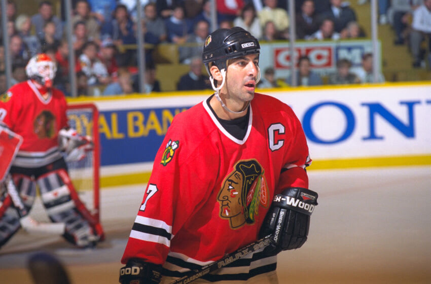 TORONTO, ON - OCTOBER 15: Chris Chelios #7 of the Chicago Blackhawks skates against the Toronto Maple Leafs during NHL game action on October 15, 1996 at Maple Leaf Gardens in Toronto, Ontario, Canada. (Photo by Graig Abel/Getty Images)