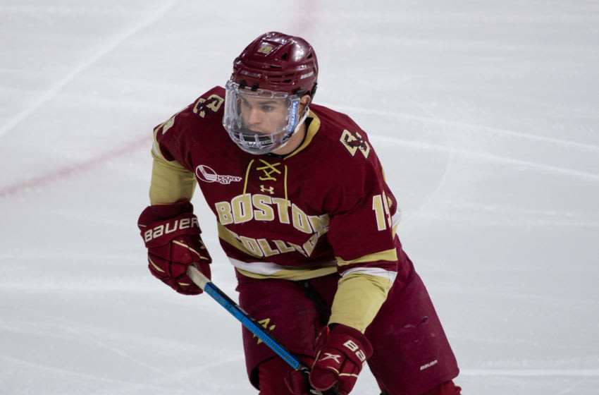 LOWELL, MA - FEBRUARY 13: Mike Hardman #19 of the Boston College Eagles skates against the Massachusetts Lowell River Hawks during NCAA men's hockey at the Tsongas Center on February 13, 2021 in Lowell, Massachusetts. The Eagles won 4-3 after trailing 2-0. (Photo by Richard T Gagnon/Getty Images)