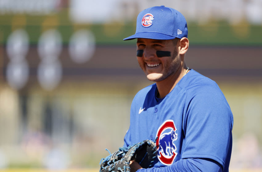 PEORIA, ARIZONA - MARCH 01: Anthony Rizzo #44 of the Chicago Cubs looks on during the MLB spring training game against the San Diego Padres at Peoria Sports Complex on March 01, 2021 in Peoria, Arizona. (Photo by Steph Chambers/Getty Images)