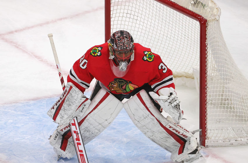 CHICAGO, ILLINOIS - MARCH 05: Malcolm Subban #30 of the Chicago Blackhawks minds the net against the Tampa Bay Lightning at the United Center on March 05, 2021 in Chicago, Illinois. The Blackhawks defeated the Lightning 4-3 in a shootout. (Photo by Jonathan Daniel/Getty Images)