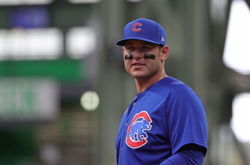 MILWAUKEE, WISCONSIN - APRIL 14: Anthony Rizzo #44 of the Chicago Cubs looks to the Milwaukee Brewers dugout during a game at American Family Field on April 14, 2021 in Milwaukee, Wisconsin. The Brewers defeated the Cubs 7-0. (Photo by Stacy Revere/Getty Images)