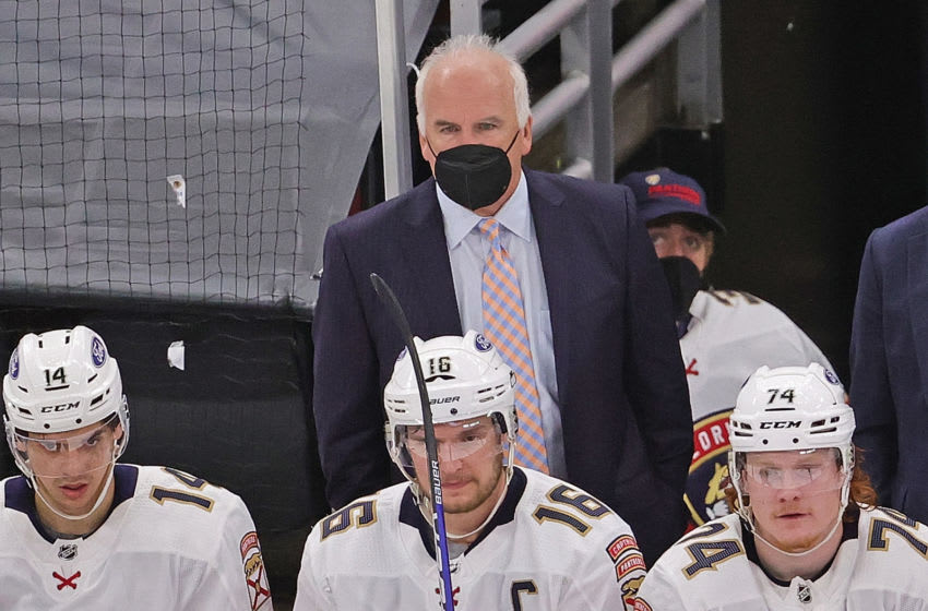 CHICAGO, ILLINOIS - MAY 01: Head coach Joel Quenneville of the Florida Panthers watches as his team takes on the Chicago Blackhawks at the United Center on May 01, 2021 in Chicago, Illinois. The Panthers defeated the Blackhawks 5-4. (Photo by Jonathan Daniel/Getty Images)