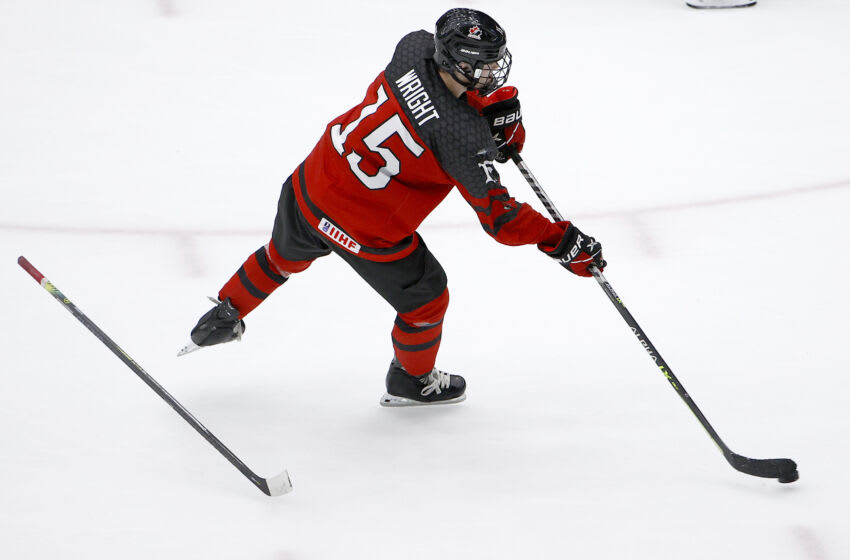 FRISCO, TEXAS - MAY 06: Shane Wright #15 of Canada scores an empty net goal against Russia in the third period during the 2021 IIHF Ice Hockey U18 World Championship Gold Medal Game at Comerica Center on May 06, 2021 in Frisco, Texas. (Photo by Tom Pennington/Getty Images)