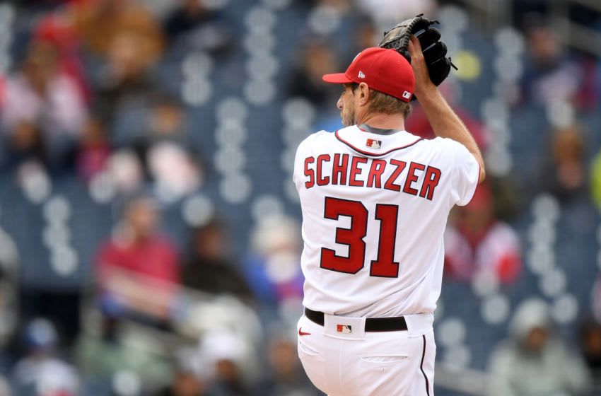 WASHINGTON, DC - MAY 30: Max Scherzer #31 of the Washington Nationals pitches against the Milwaukee Brewers at Nationals Park on May 30, 2021 in Washington, DC. (Photo by Will Newton/Getty Images)