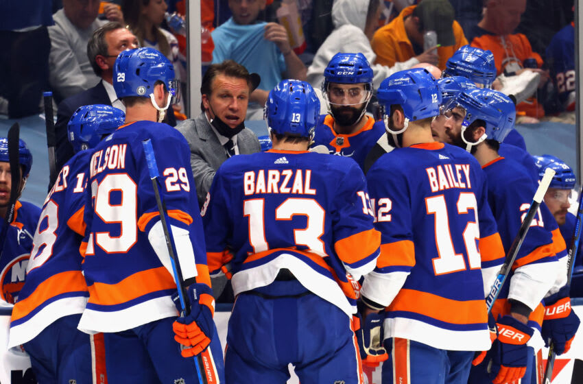UNIONDALE, NEW YORK - JUNE 23: Assistant coach Jim Hiller of the New York Islanders works the bench during the game against the Tampa Bay Lightning in Game Six of the NHL Stanley Cup Semifinals during the 2021 NHL Stanley Cup Finals at the Nassau Coliseum on June 23, 2021 in Uniondale, New York. The Islanders defeated the Lightning 3-2 in overtime. (Photo by Bruce Bennett/Getty Images)