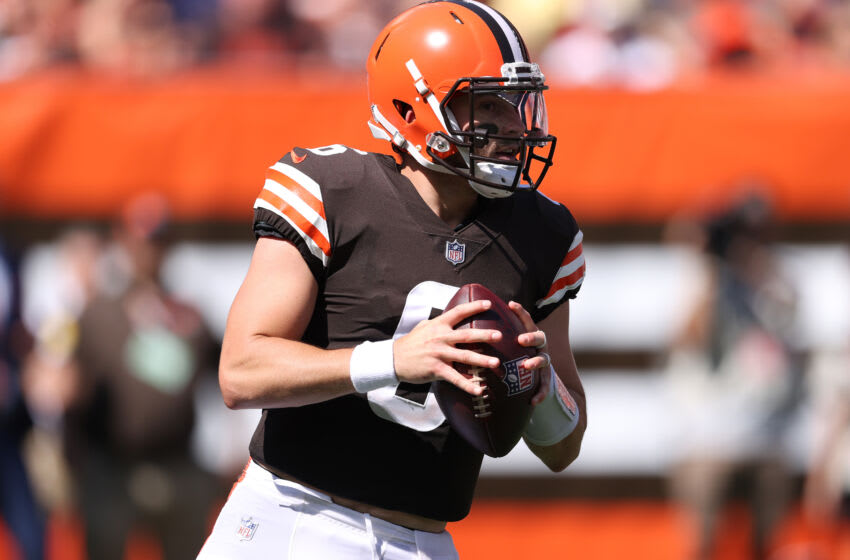 CLEVELAND, OHIO - SEPTEMBER 19: Baker Mayfield #6 of the Cleveland Browns plays against the Houston Texans at FirstEnergy Stadium on September 19, 2021 in Cleveland, Ohio. Cleveland won the game 31-21. (Photo by Gregory Shamus/Getty Images)