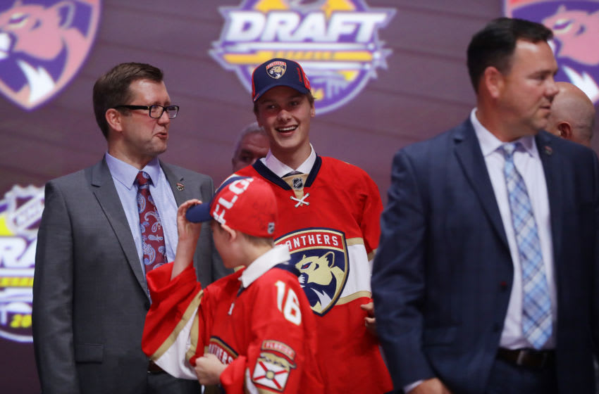 BUFFALO, NY - JUNE 24: Henrik Borgstrom celebrates with the Florida Panthers after being selected 23rd during round one of the 2016 NHL Draft on June 24, 2016 in Buffalo, New York. (Photo by Bruce Bennett/Getty Images)