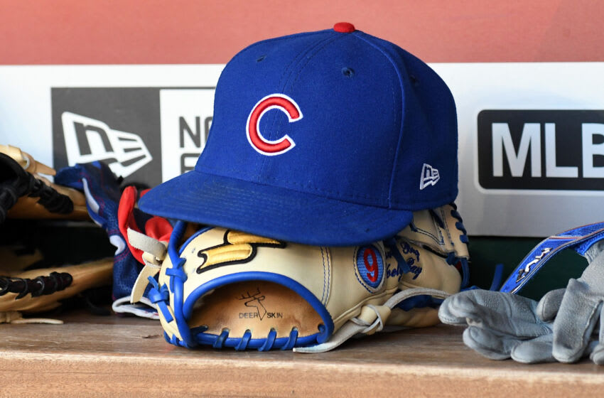 WASHINGTON, DC - JUNE 27: A Chicago Cubs hat in the dugout during the game against the Washington Nationals at Nationals Park on June 27, 2017 in Washington, DC. (Photo by G Fiume/Getty Images)