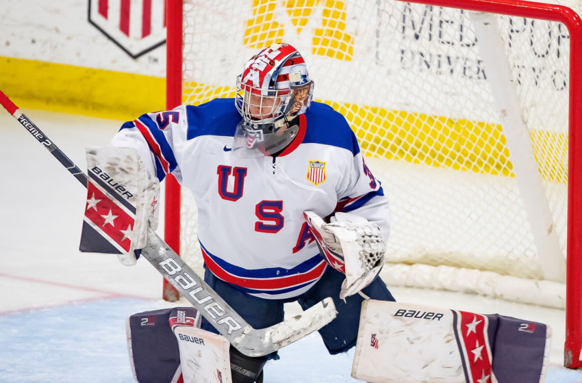 PLYMOUTH, MI - DECEMBER 11: Drew Commesso #35 of the U.S. Nationals makes a save against the Slovakia Nationals during game two of day one of the 2018 Under-17 Four Nations Tournament game at USA Hockey Arena on December 11, 2018 in Plymouth, Michigan. USA defeated Slovakia 7-2. (Photo by Dave Reginek/Getty Images)