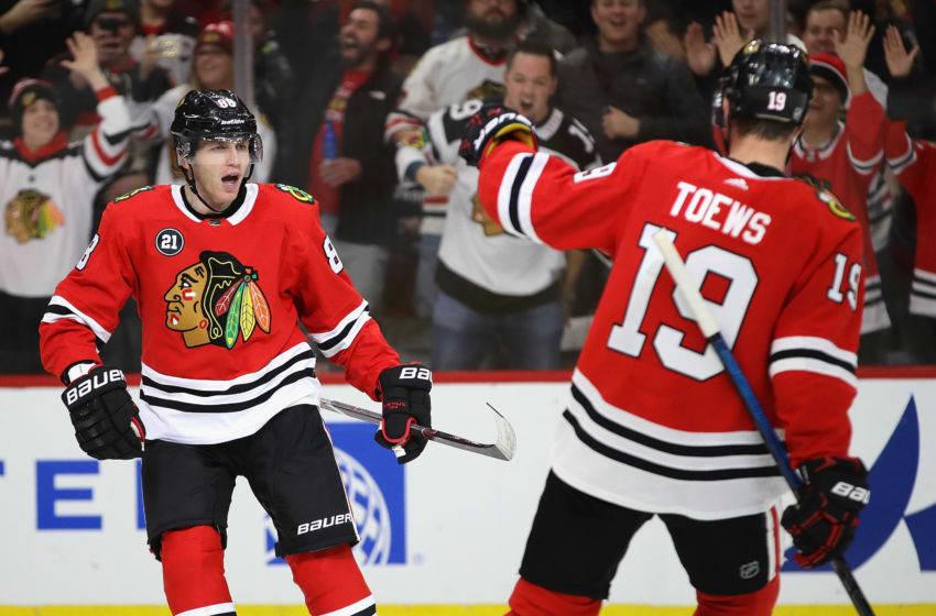 Patrick Kane, Jonathan Toews, Chicago Blackhawks. (Photo by Jonathan Daniel/Getty Images)