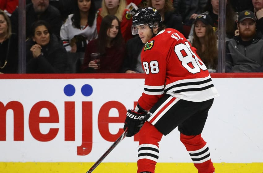 CHICAGO, ILLINOIS - FEBRUARY 16: Patrick Kane #88 of the Chicago Blackhawks looks to pass against the Columbus Blue Jackets at the United Center on February 16, 2019 in Chicago, Illinois. (Photo by Jonathan Daniel/Getty Images)
