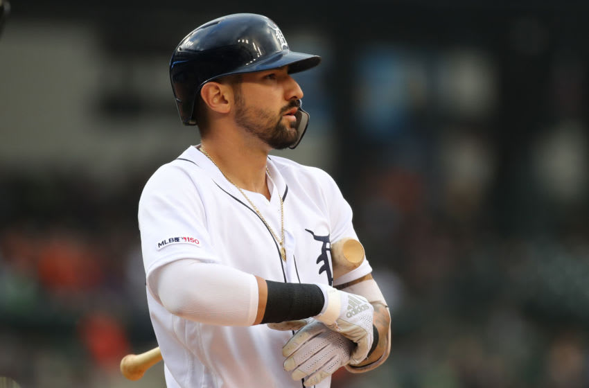 DETROIT, MICHIGAN - JUNE 05: Nicholas Castellanos #9 of the Detroit Tigers waits to bat in the first inning while playing the Tampa Bay Rays at Comerica Park on June 05, 2019 in Detroit, Michigan. (Photo by Gregory Shamus/Getty Images)