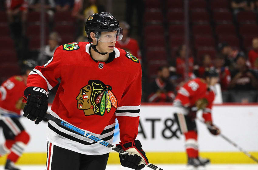 CHICAGO, ILLINOIS - SEPTEMBER 18: Dominik Kubalik #8 of the Chicago Blackhawks participates in warm-ups before a preseason game against the Detroit Red Wings at the United Center on September 18, 2019 in Chicago, Illinois. (Photo by Jonathan Daniel/Getty Images)