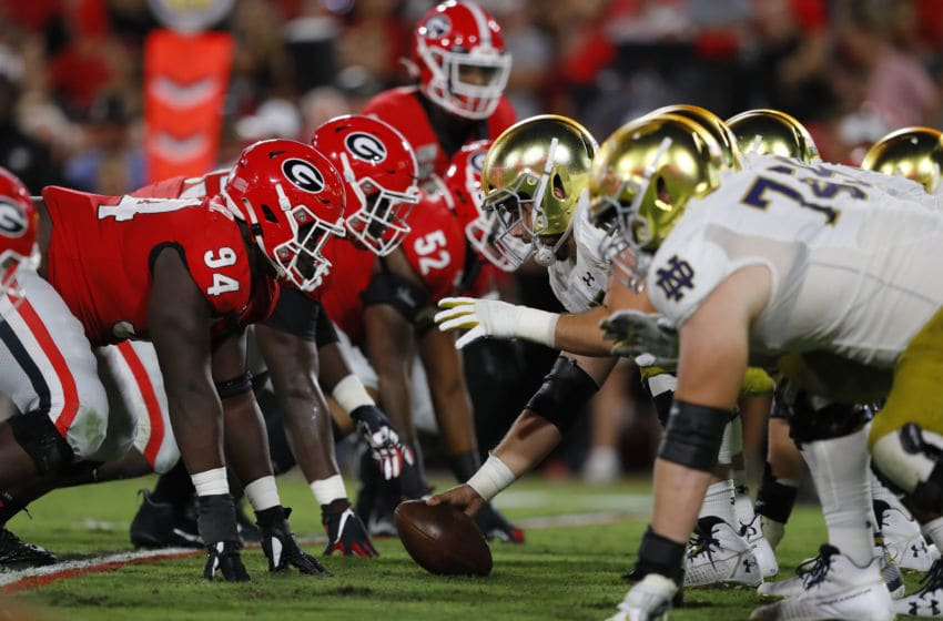 ATHENS, GEORGIA - SEPTEMBER 21: The Notre Dame Fighting Irish prepare to snap the ball in the fist half against the Georgia Bulldogs at Sanford Stadium on September 21, 2019 in Athens, Georgia. (Photo by Kevin C. Cox/Getty Images)