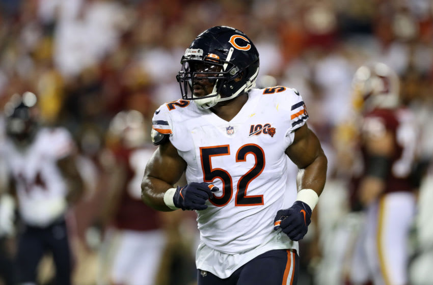 LANDOVER, MARYLAND - SEPTEMBER 23: Khalil Mack #52 of the Chicago Bears runs off the field against the Washington Redskins in the second half at FedExField on September 23, 2019 in Landover, Maryland. (Photo by Rob Carr/Getty Images)