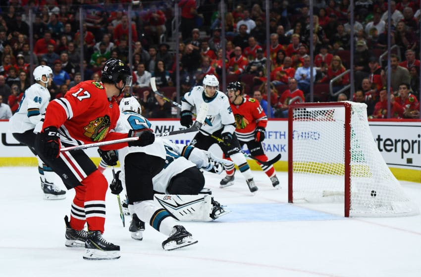 CHICAGO, ILLINOIS - OCTOBER 10: Dylan Strome #17 of the Chicago Blackhawks scores a goal against the San Jose Sharks during the second period of the home opening game at United Center on October 10, 2019 in Chicago, Illinois. (Photo by Stacy Revere/Getty Images)