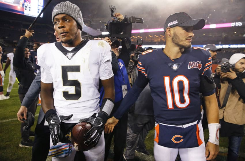 CHICAGO, ILLINOIS - OCTOBER 20: Mitchell Trubisky #10 of the Chicago Bears congratulate Teddy Bridgewater #5 of the New Orleans Saints after their game at Soldier Field on October 20, 2019 in Chicago, Illinois. (Photo by Nuccio DiNuzzo/Getty Images)