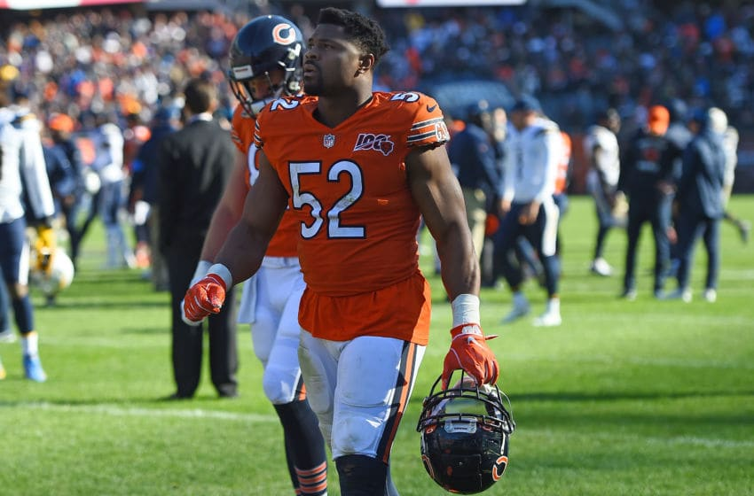 CHICAGO, ILLINOIS - OCTOBER 27: Khalil Mack #52 of the Chicago Bears leaves the field following a game against the Los Angeles Chargers at Soldier Field on October 27, 2019 in Chicago, Illinois. (Photo by Stacy Revere/Getty Images)
