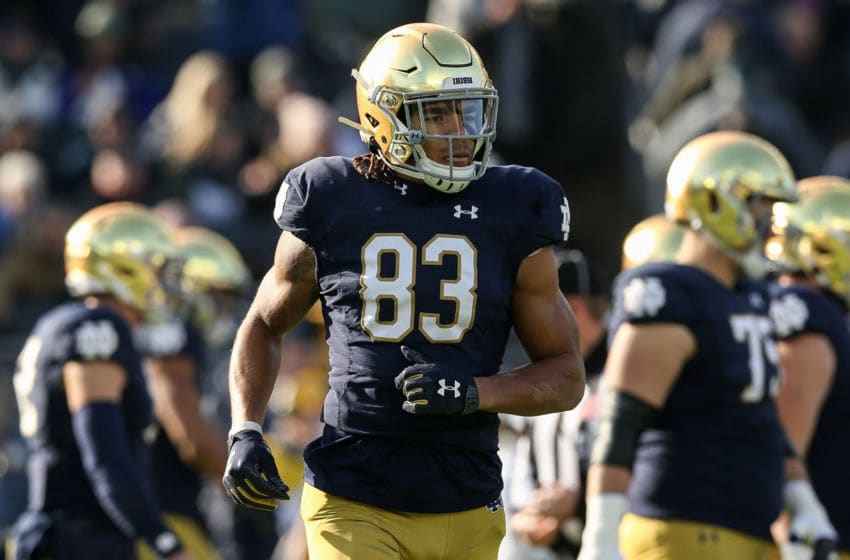 SOUTH BEND, INDIANA - NOVEMBER 16: Chase Claypool #83 of the Notre Dame Fighting Irish lines up for a play in the first quarter against the Navy Midshipmen at Notre Dame Stadium on November 16, 2019 in South Bend, Indiana. (Photo by Dylan Buell/Getty Images)