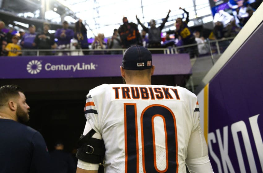 MINNEAPOLIS, MN - DECEMBER 29: Mitchell Trubisky #10 of the Chicago Bears exits the field after the game against the Minnesota Vikings at U.S. Bank Stadium on December 29, 2019 in Minneapolis, Minnesota. The Bears defeated the Vikings 21-19. (Photo by Stephen Maturen/Getty Images)