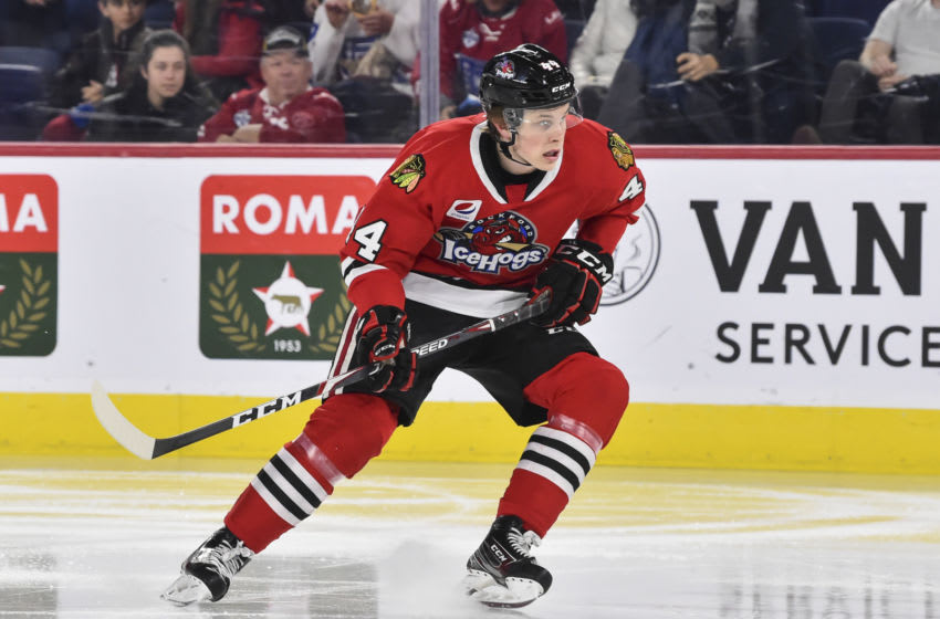 LAVAL, QC - DECEMBER 17: MacKenzie Entwistle #44 of the Rockford IceHogs skates against the Laval Rocket during the second period at Place Bell on December 17, 2019 in Laval, Canada. The Rockford IceHogs defeated the Laval Rocket 3-2 in the shoot-out. (Photo by Minas Panagiotakis/Getty Images)
