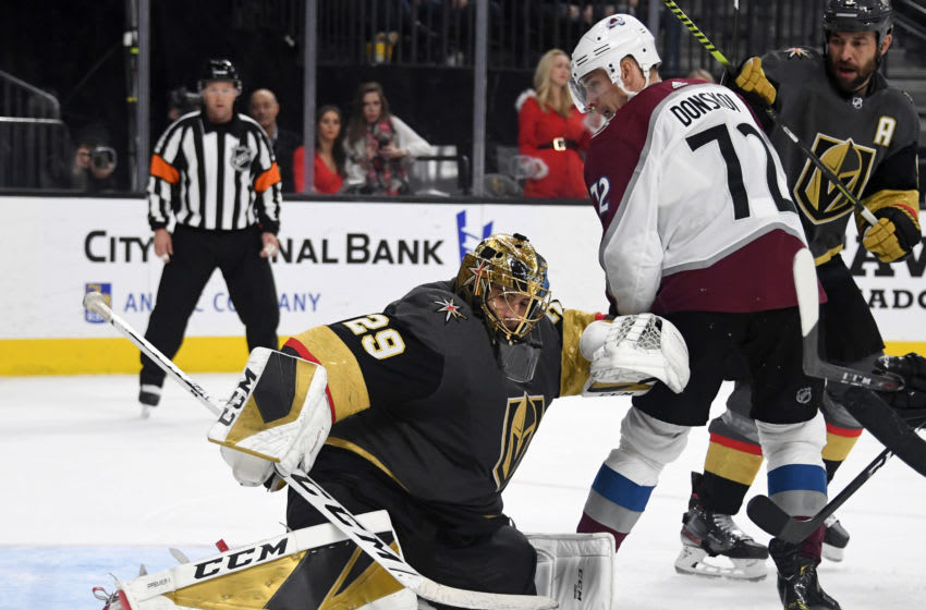 LAS VEGAS, NEVADA - DECEMBER 23: Marc-Andre Fleury #29 of the Vegas Golden Knights makes a save in front of Joonas Donskoi #72 of the Colorado Avalanche in the third period of their game at T-Mobile Arena on December 23, 2019 in Las Vegas, Nevada. The Avalanche defeated the Golden Knights 7-3. (Photo by Ethan Miller/Getty Images)